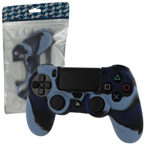 Pro Soft Silicone Protective Cover with Ribbed Handle Grip [Camo Dark Blue] (PS4)