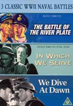 3 Classic World War 2 Naval Battles - The Battle Of The River Plate / In Which We Serve / We Dive At Dawn (DVD)