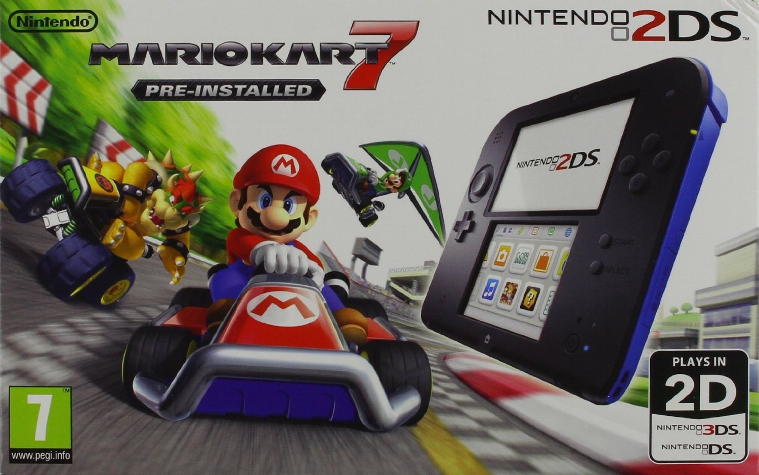 Nintendo 2DS Console with Pre-installed Mario Kart 7 (Black/Blue) (Nintendo 2DS)