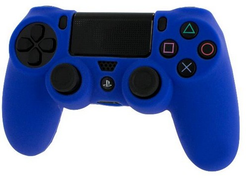 Pro Soft Silicone Protective Cover with Ribbed Handle Grip [Blue] (PS4)